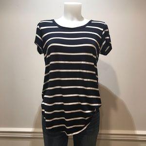 Free Kisses navy & white stripped t- shirt